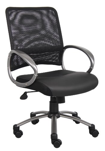 Boss Office Products B6406 Mesh Back Task Chair with Pewter Finish in Black by Boss Office Products