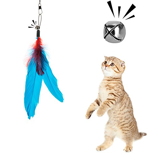 Depets Feather Teaser Cat Toy, Retractable Cat Feather Toy Wand with 5 Assorted Teaser with Bell Refills, Interactive Catcher Teaser for Kitten Or Cat Having Fun Exerciser Playing 5