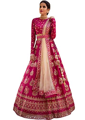 Rudra Fashion Women's Silk Semi stitched Lehenga Choli (pm-96855_Pink_Free Size)
