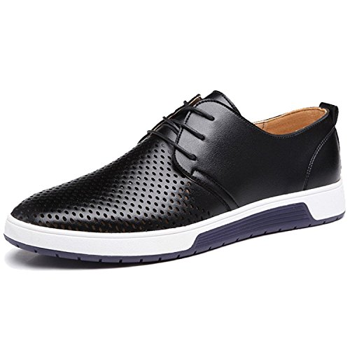 Black Leather Casual Oxfords - Zzhap Men's Casual Oxford Shoes Breathable Flat Fashion Sneakers Black US 10.5