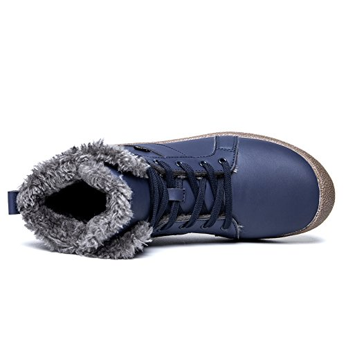 Fung-wong Mens Leather Fur Lined Winter Snow Boots High Top Warm Sneakers Blue YuENgGp4ib