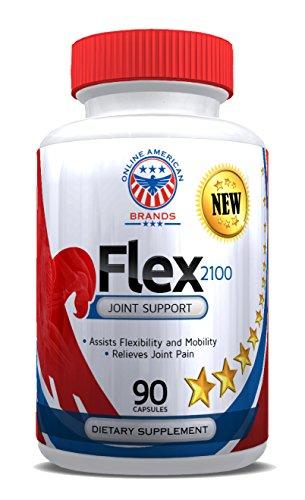 Flex2100 réparation conjointe et commune Supplément diététique soulagement de la douleur avec Glucosamine, MSM, chondroïtine, curcuma-90 Capsules.