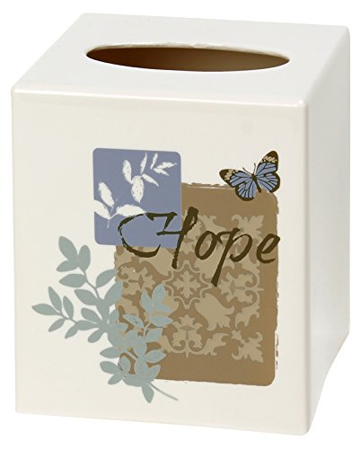 SKL Home by Saturday Knight Ltd. Faith Tissue Box Cover, Smoke Blue