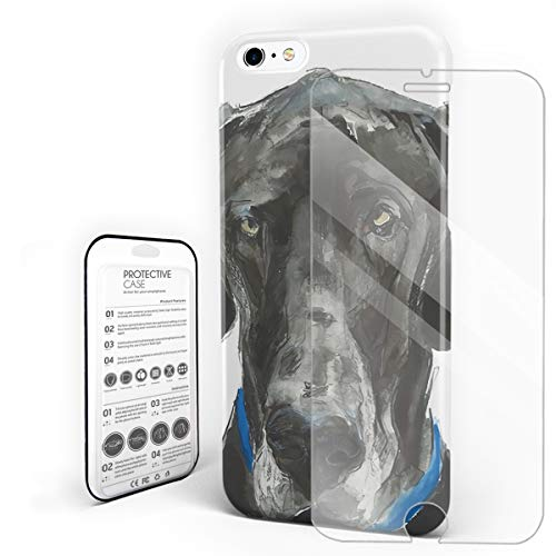 Compatible with iPhone 6 Plus Case and iPhone 6s Plus Case, Hard PC Back Phone Case with Tempered Glass Screen Protector Great Dane Shockproof Protective Cover]()