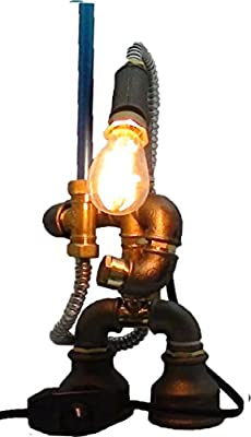 E2?-Loft Handmade Lamp- Steampunk Industrial Style Pipe Desk Light With Dimmer - Star Wars- Robot SteamBot