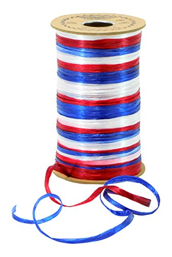 Raffia 3-Color Red, White & Royal Blue Americana Combination Pearl Finish Pearl Raffia