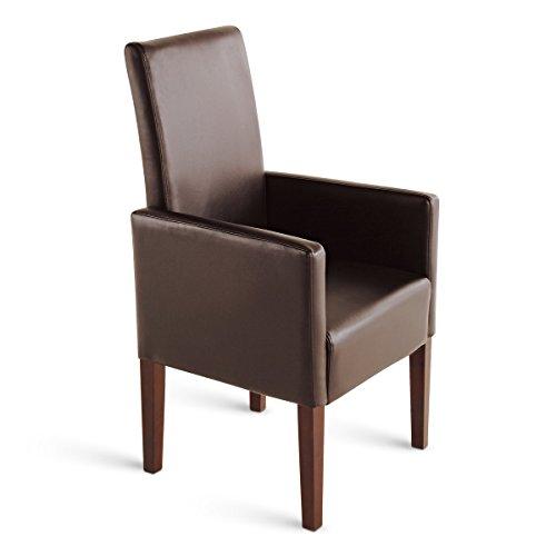 SAM® Esszimmer Armlehnstuhl Stuhl Ferrara in braun mit kolonialfarbigen Beinen aus Pinienholz, angenehme Polsterung, pflegeleicht