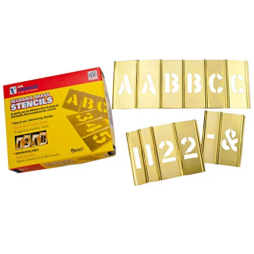C. H. Hanson 10108 1 Brass Interlocking Stencil Letters and Numbers 77 Piece Set