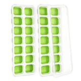 (2 Pack) Ice Cube Tray, TOPELEK LFGB Certified BPA Free Ice Cube Moulds with Food-Safe Material, 2 Spill-Resistant Lids, Best Ice Trays for Freezer, Water, Whiskey, Cocktail, Dishwasher Safe, Green