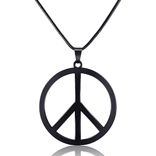 Tatuo 1 Piece Metal Peace Sign Pendant 1960s 1970s Hippie Party Accessories Necklace (Black) -