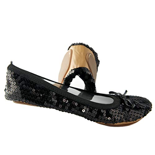 - Sequin Foldable Portable Flats That fold and fit in a Bag (7, Black)