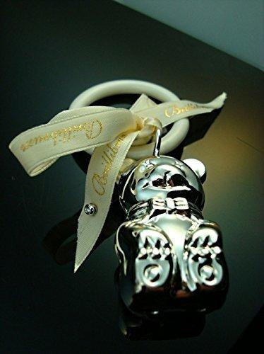 Brillibrum Baby Teether Rattle Bear Diamond Stud Earrings Studs Silver Birth / Christening / Flyer
