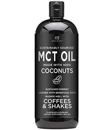 Premium MCT Oil Made only from Coconuts - 16oz BPA Free Bottle with Pump. Keto, Paleo, Gluten Free and Vegan Diet Approved by Radha Beauty