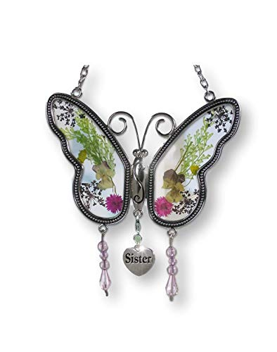 BANBERRY DESIGNS Sister Butterfly Suncatcher with Pressed Flower Wings - Sister Gifts - Gifts for Sisters - Sister -