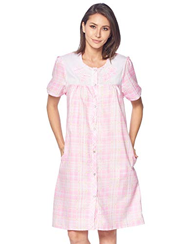 Casual Nights Women's Snap Front House Dress Embroidered Short Sleeve Seersucker Duster Housecoat Robe Lounger, Plaid Pink, 3X-Large