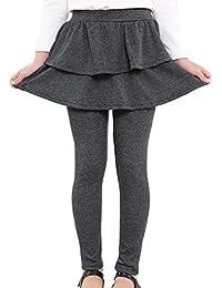 Kids Girls Autumn Cotton Stretch Leggings with Ruffle Tutu Skirt