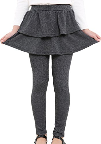 BogiWell Kids Girls Autumn Cotton Stretch Leggings with Ruffle Tutu Skirt Dark Gray(US 9-11T,Tag 150) by BogiWell