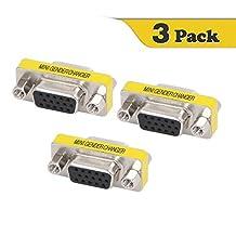 VCE (3-PACK) HD15 VGA SVGA Female to Female Mini Gender Changer Coupler Adapter