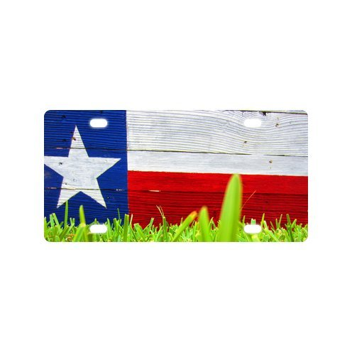 Texas Falg Green Grass Wood Pattern Durable And Strong Aluminum Car License Plate 12