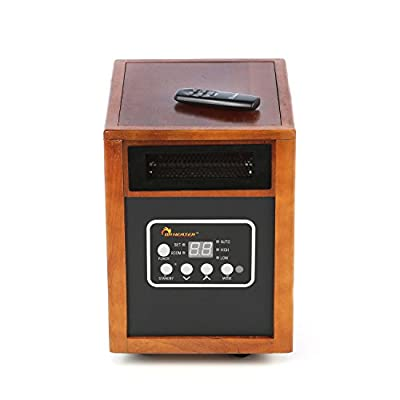 Dr. Infrared Heater 1,500 Watt Infrared Cabinet Space Heater - Remote Control Modular Design High Pressure Low Noise Blower - Auto Energy Saving Dual Heating Systems