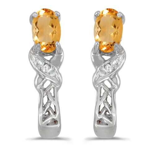 0.30 Carat (ctw) 14k White Gold Oval Yellow Citrine and Diamond Infinity Weave Pattern Stud Earrings with Post with Friction Back (5 x 3 MM)