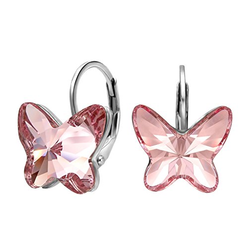 EleQueen 925 Sterling Silver Butterfly Love Hoop Huggie