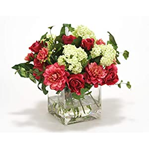 Distinctive Designs Waterlook Fuschia Dahlia and Roses, Cream Green Snowballs in Glass Cube Vase 78