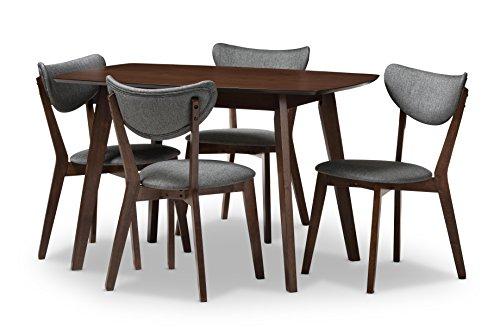 Baxton Studio 424-8067-AMZ Albertine Mid-Century Modern Walnut-Finished Dark Grey Fabric Upholstered Dining Set (5 Piece), Dark Grey/Walnut Brown 415iFE 2BGOKL