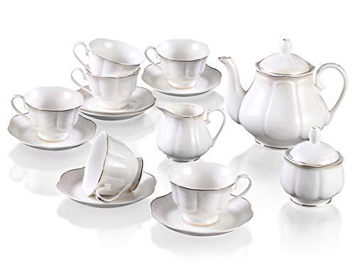 15PCS Juego de Cafe Porcelana Inglesa - Vintage Blanco Juego de 6 Tazas de Te y 6 Platillos con Tetera en Relieve de Flores Set de Tazas de Cafe