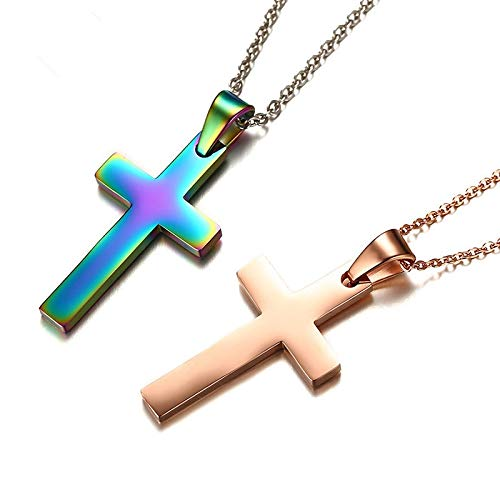 Davitu Fashion Punk Male Black Cross Pendant Silver Gold Black Stainless Steel Jesus Cross Pendant Necklace Jewelry for Cool Men Gift Metal Color: Rose Gold