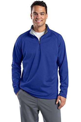 (Sport-Tek Men's Sport Wick 1/4 Zip Fleece Pullover, True Royal/ Silver, X-Large)
