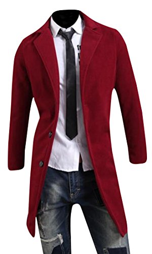 Long Red Trench Coat - Abetteric Men Winter Stylish Solid Long Sleeve Trench Coat Outwear Wine Red M