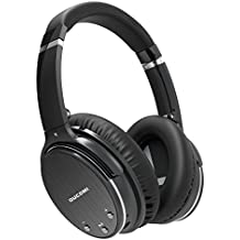 OUCOMI Active Noise Cancelling Bluetooth Headphones with Microphone, Over-ear Foldable Deep Bass Wireless Hi-Fi Stereo Headphones Black