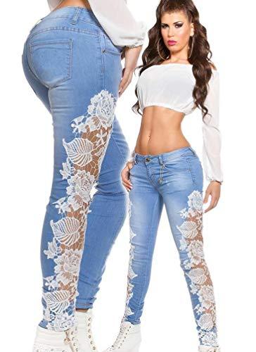 Basse Dentelle Mode Pantalons Femmes Blanc Pantalon Collants Taille Denim Jeans Crayon Leggings Slim Couture Cayuan lasticit en 58n17xxZ