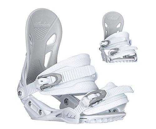 Avalanche Serenity Snowboard Bindings Women's M-L fits 6-10 (White Purple, Women ML(fits 6-10))