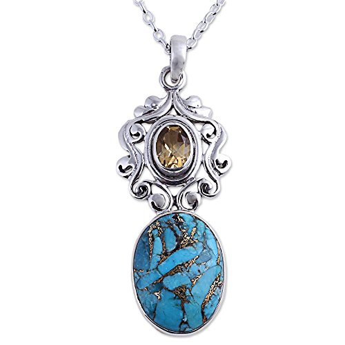 NOVICA Multi-Gem Reconstituted Turquoise .925 Sterling Silver Pendant Necklace, Whimsical Tendrils