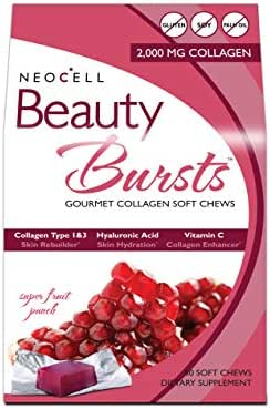 NeoCell Beauty Bursts Collagen Soft Chews - 2,000mg Collagen Types 1 & 3 - Super Fruit Punch Flavor – 60 Count