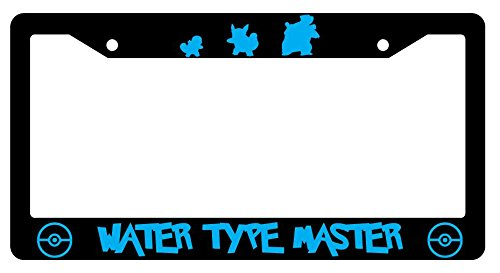 GSF Frames Squirtle, Wartortle, Blastoise Water Type Master Black Plastic License Plate Frame Pokemon
