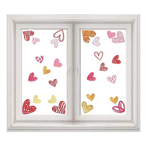 - MZYARD 102 PCS Valentine's Day Window Heart Stickers - Party Decorations Supplies