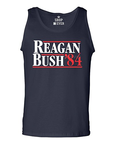Shop4Ever Reagan Bush 84 Men's Tank Top Presidential Campaign Tank Tops XX-LargeNavy0 (Tops Bush)