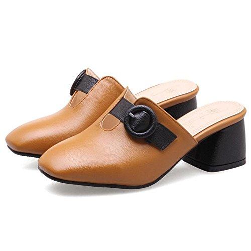 TAOFFEN Women Block Heel Mules Shoes Yellow ufWMuVCOoF
