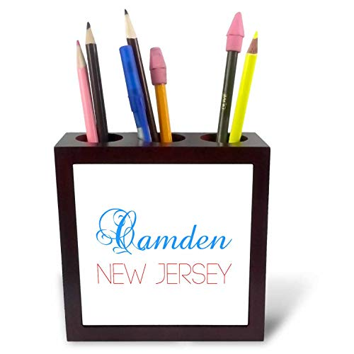 3dRose Alexis Design - American Cities New Jersey - Camden, New Jersey, red, Blue Text. Patriotic Home Town Design - 5 inch Tile Pen Holder (ph_300821_1)