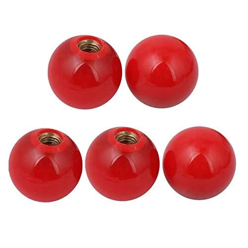 COMOK Red 5pcs 38mm Diameter 10mm Hole Diameter Mounded Threaded Handling Round Ball Knob