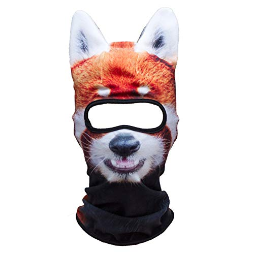 WTACTFUL 3D Animal Ears Fleece Thermal Hood Balaclava Neck Warmer Face Mask for Cold Weather Winter Outdoor Sport Motorcycle Cycling Riding Ski Snowboard Halloween Party Red Panda - Snow Ski Shape