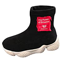 wwffoo Outdoor Boots for Boys Girls - Light-Weight, Non-Slip,Warm Ankle Boots Sport Shoes (3.5-4Years, Black)