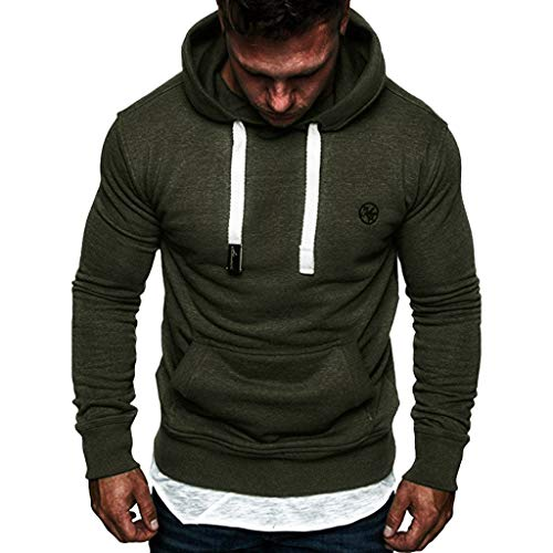 Emimarol Men's Long Sleeve Sweatshirt Casual Hoodies Top Blouse Tracksuits Army Green -