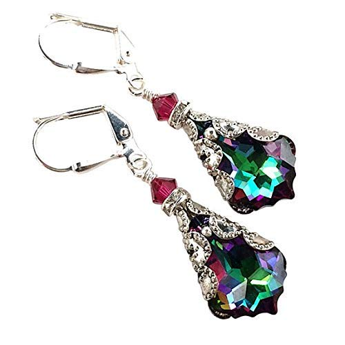 HisJewelsCreations Baroque Crystal Vintage Inspired Leverback Drop Earrings ()