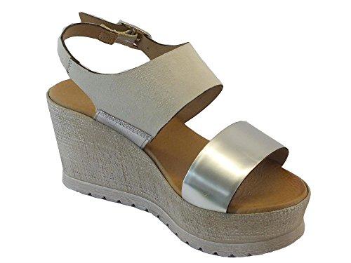 Mercante di Fiori 65768 Metal Bianco Argento - Sandalias de vestir de Piel para mujer Bianco argento