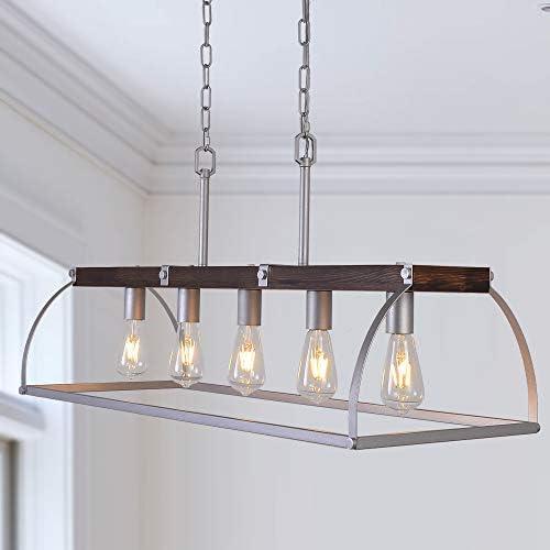 Antilisha Farmhouse Chandelier TN004 Lighting Rectangle Geometric Lantern Cage Light Fixture Pendant Chandelier - the best dining room chandelier for the money