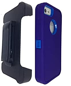 iPhone 5S case, OKASE (TM) iPhone 5 / 5S Durable Protective Dual Layer Swivel Belt clip Holster Heavy Duty Shockproof / Dustproof Case - (Original User Friendly Packaging) - Blue on Blue
